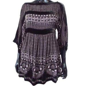 BCBGMaxAzria Velvet Burnout Dress Blouse Top